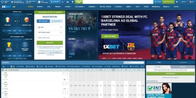 1xBet homepage captured
