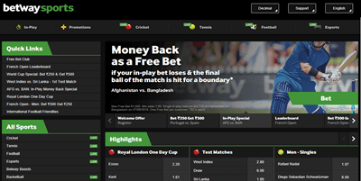 betway homepage captured