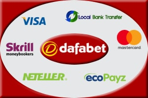 Available payment options at Dafabet